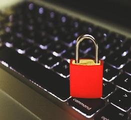 Firewall, red lock on keyboard